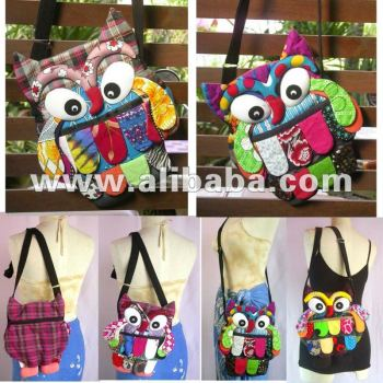 Thai Handmade Patchwork Owl Sling Bags Shoulder Bag Purse Wallet