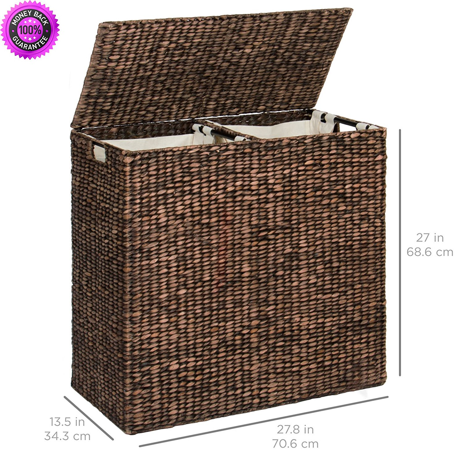 DzVeX Water Hyacinth Double Laundry Hamper Basket 2 Liner Basket Bags Brushed Espresso And wicker hampers at bed bath and beyond wicker laundry basket with lid elephant hamper clothes hampers that