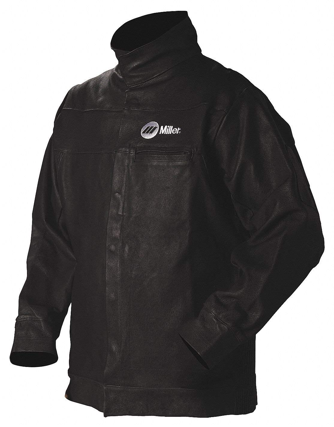 ee56bc929c2 Get Quotations · Black Pigskin Leather Welding Jacket, Size: Large, 30