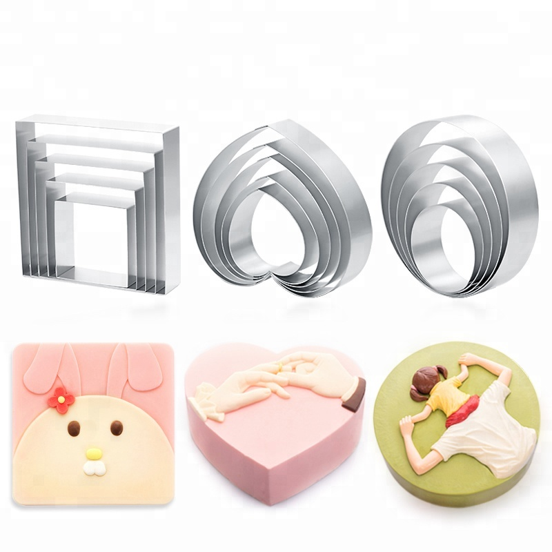 Hot selling high quality stainless steel love square round cookie cutter mousse ring baby cake mousse molds baking bakery tools