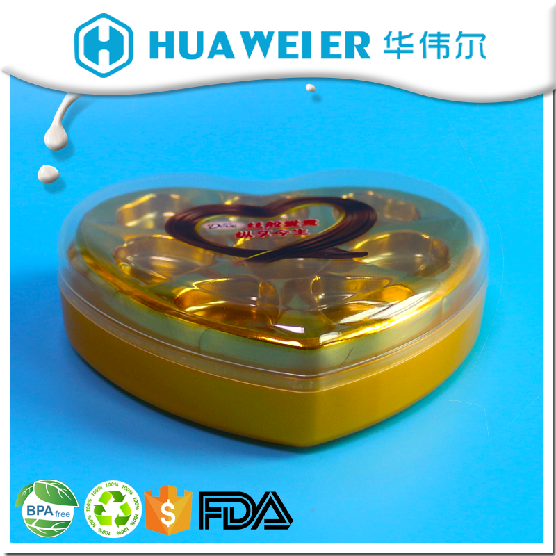 Guangzhou supplier bpa free heart shape chocolate food gift packaging box