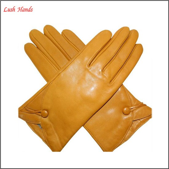 2015 hot sale lady's fashion simple yellow leather gloves