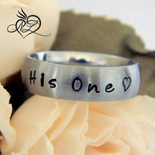 6 mm Wide Stainless Steel Wedding Band Hand Stamped Personalized Name Ring