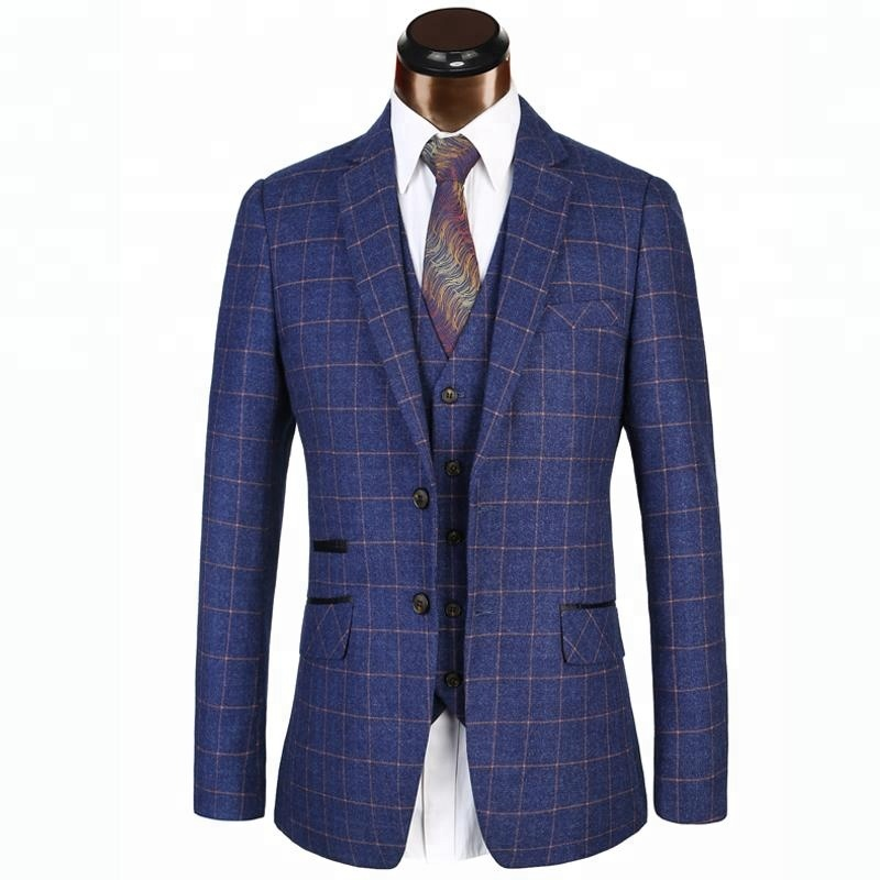 Vintage 3 Piece Men Suits Old School Brown Tweed Herringbone Formal Wear Tuxedos