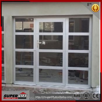 Tinted Aluminum Glass Garage Door With Passing Door Glass Panel
