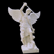 St. Michael the Archangel Religious Church White Marble Sculpture