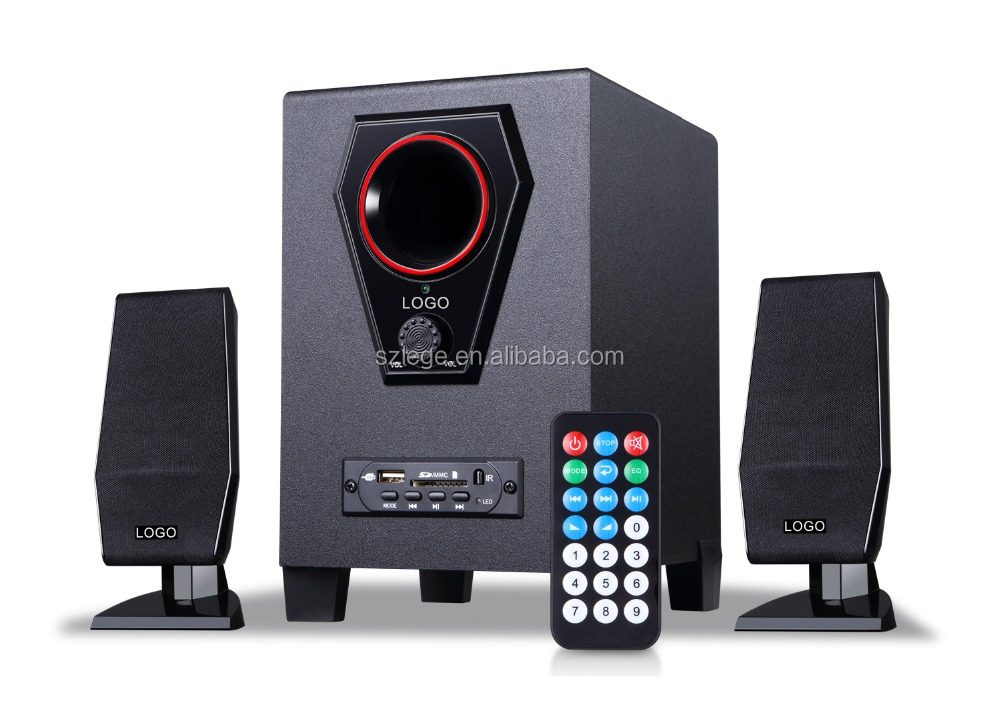wholesale 2.1 multimedia subwoofer speaker system for computer with fm radio usb sd card reader