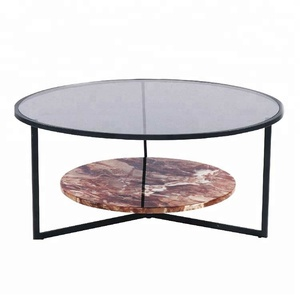 Retro Nordictempered Glass Top Round Cement Coffee Table