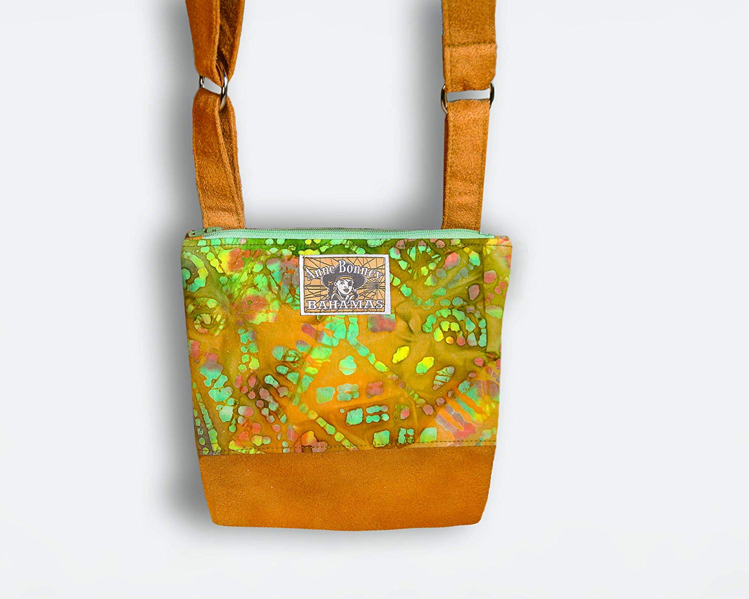 Small orange and green padded cross body bag with faux suede bottom and two zipper pockets, crossbody purse, shoulder bag, handbag, faux suede bag, padded zipper pouch, gifts for women, Anne Bonney