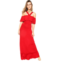 Red Casual Long Party Women Dresses Halter Neck Maxi Quality Office Ladies Formal Sexy Nice Young Party Evening Dress