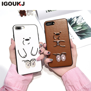 New Ultra thin Leather skin Cute bear back cover For iPhone X case TPU Soft Cell phone case for iphone 10