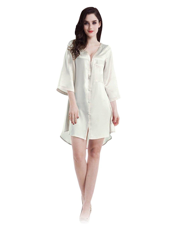 0b7f83785e Get Quotations · Silk Blouse Dress Robe Nightshirt Vintage Fashion