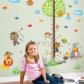 Animal Carnival kids height growth chart wall sticker for children room bedroom home decorative wall decals waterproof murals