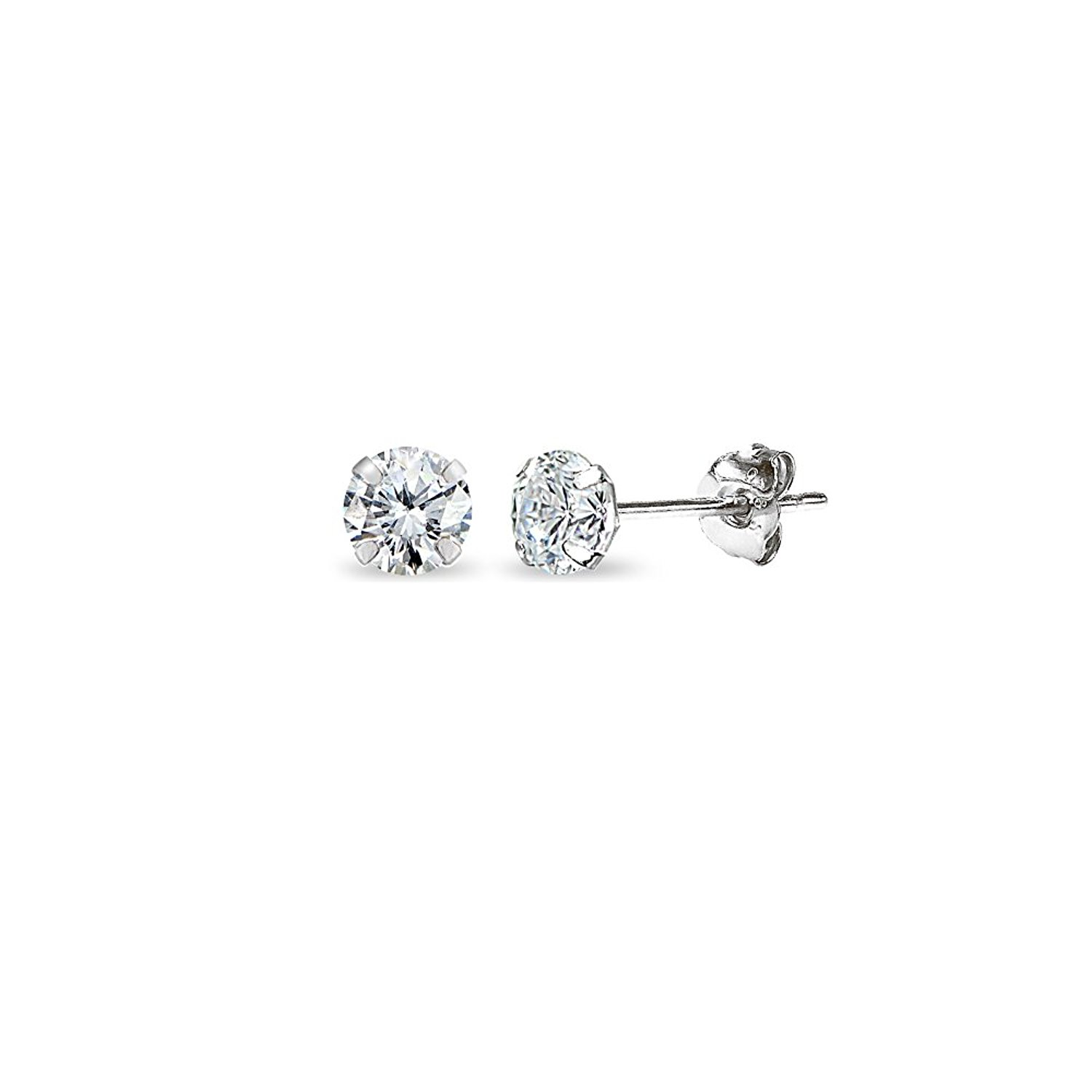 14k Gold Cubic Zirconia Tiny 3mm Round Uni Stud Earrings For Men Women Boys