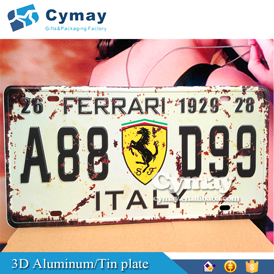 3D Car number license Aluminum/Tin bicycle nameplate with logo embosssed print for outdoor home decorative metal sign