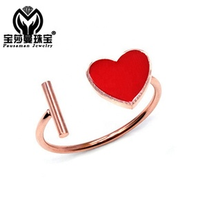 PSM new fashion rose gold plated high quality red love heart Resizable Enamel engagement ring jewelry for promise