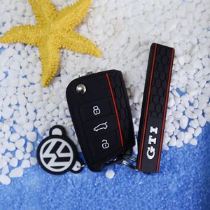 Black GTI Honeycomb Style Silicon Keyless Remote Key Fob Flip Key Protection Case Cover For VW Volkswagen Golf MK7