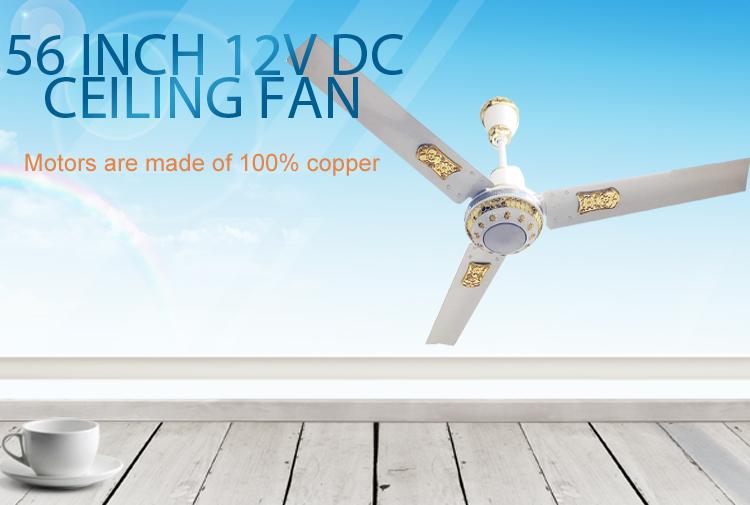 Güneş şarj edilebilir DC 12 V tavan fanı LED ışıkları ile