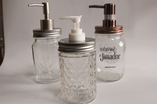 round glass mason jar with metal lid and soap pump