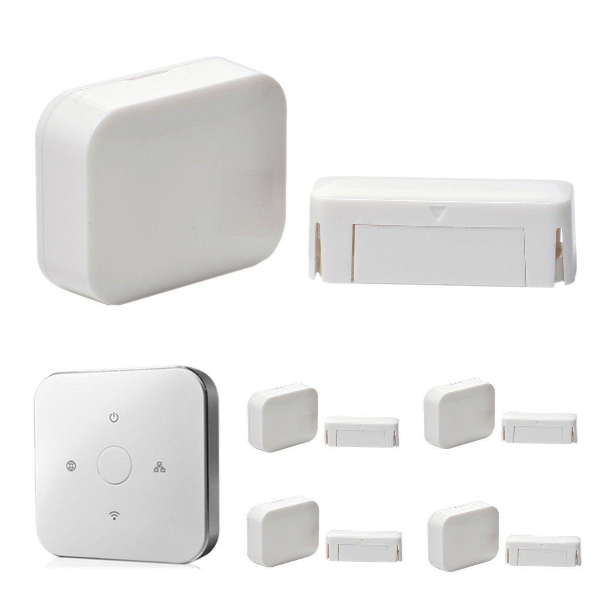 iHomeware Door/Window Sensor, Zigbee Smartphone Android/IOS Wireless Controlled Security Door Contact 5/pack with Gateway