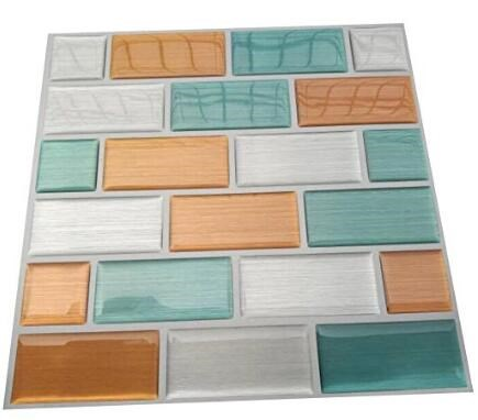 High Quality Modern Kichen Mosaic Vinyl Tile Peel and Stick Adhesive Vinyl Wall Tiles,Mixed Stone