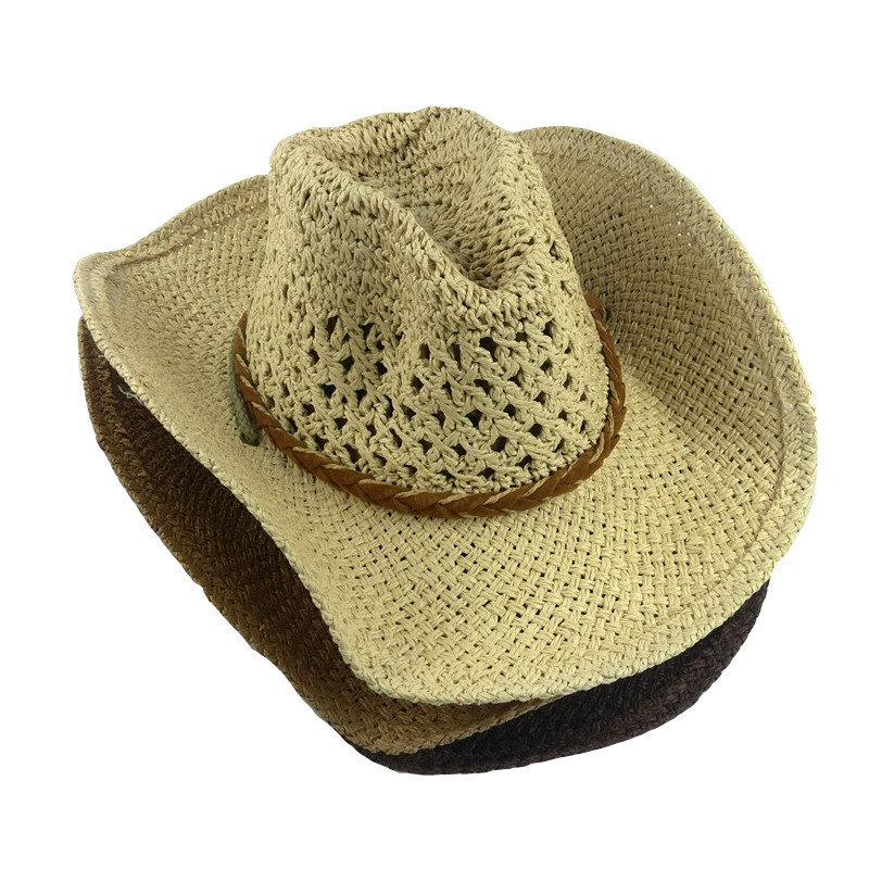 1af3de6ec72 Get Quotations · 2015 casquette homme cowboy straw hat with string mens  straw hat outdoor fish travel sun hat