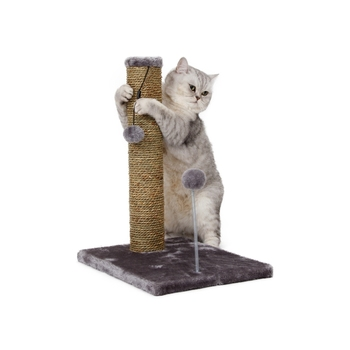 "20"" Sea Grass Sisal Cat Scratcher, With Spring Toy Cat Tree"