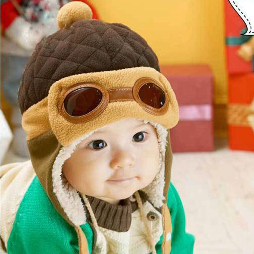 6119713abd0 Get Quotations · Diamondo Toddlers Cool Baby Boy Girl Infant Winter Pilot  Warm Cap Hat Beanie (Coffee)