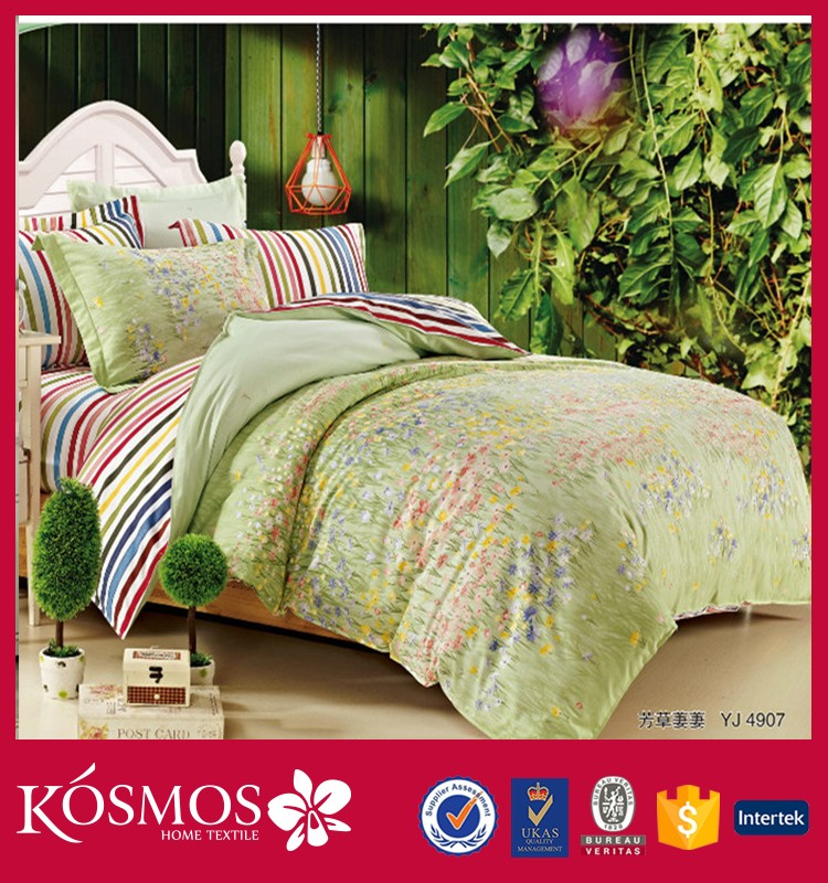 Made in china stripe printing duvet covers 100% cotton double size american style bedroom sets