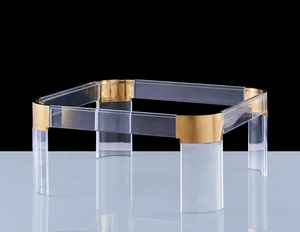 New Popular Design Gold stainless steel tempered Glass Acrylic Existential Coffee Table