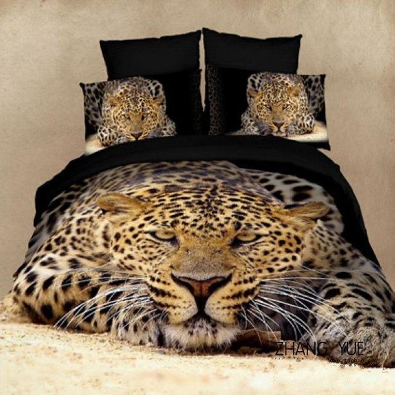 Animal Print 3d Bedding Set Queen Size 4pcs Leopard Tiger