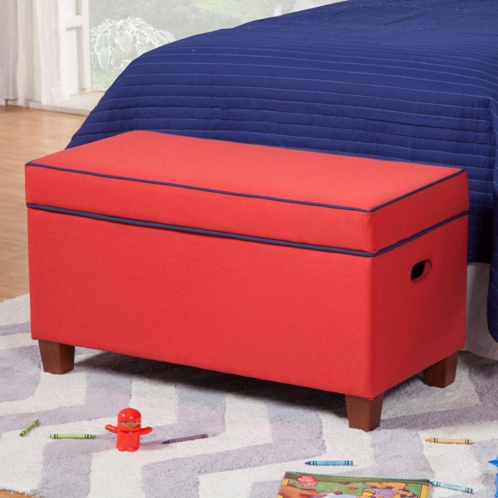 Kinfine Upholstered Kids Storage Bench   Red