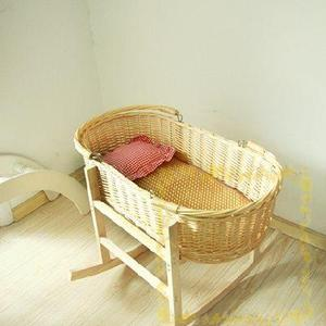 Babies may sleep in a safe wicker crib handmade baby cribs with wooden legs  in hot summer