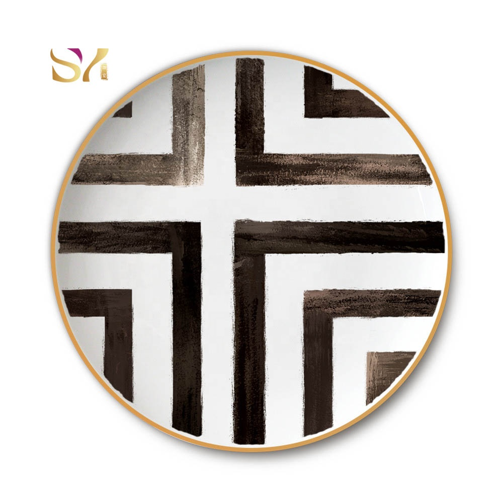 Luxury Black <strong>Plate</strong> Wedding Charger <strong>Plate</strong> White and Black Crossing Pattern