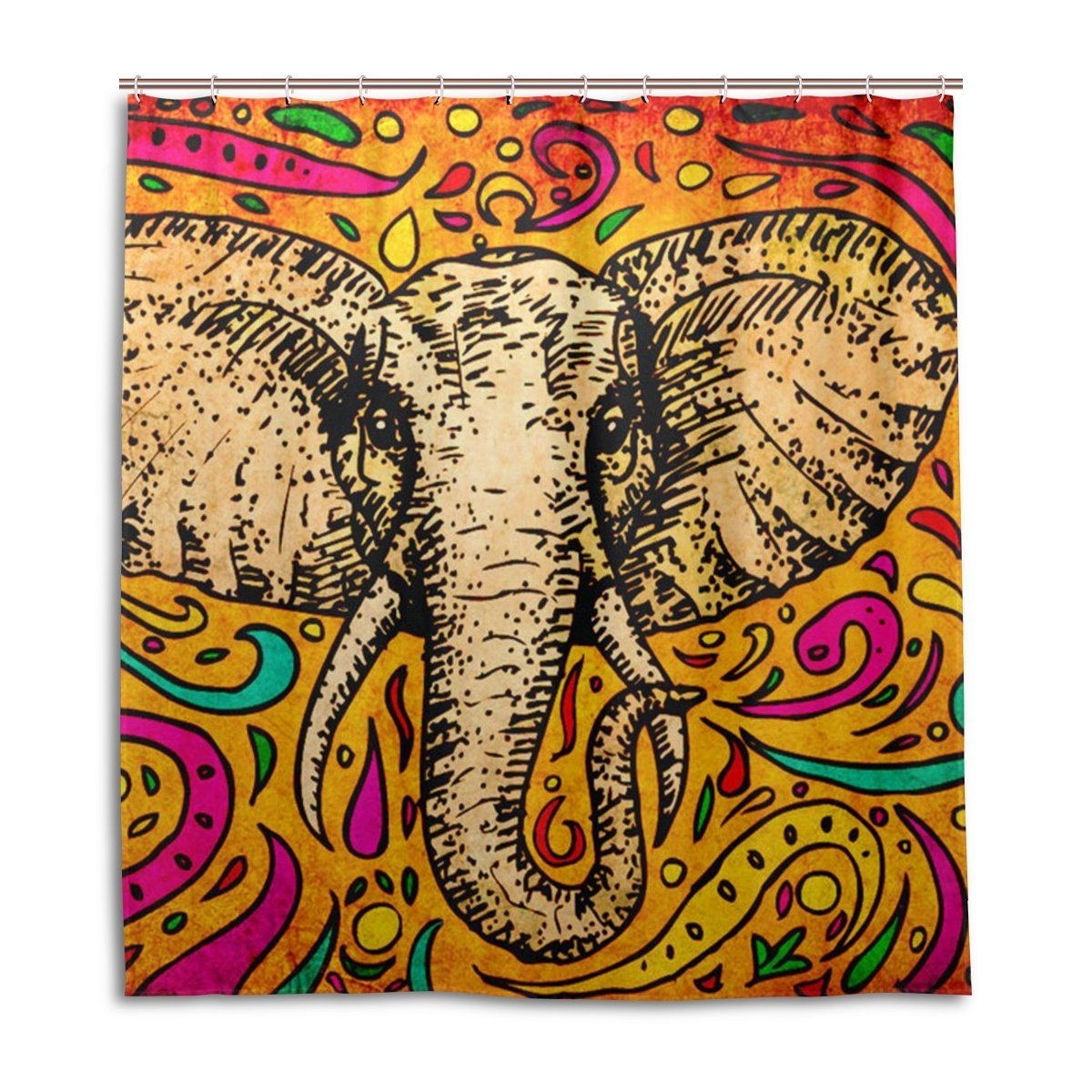 Get Quotations JSTEL Decor Shower Curtain African Indian Elephant Pattern Print 100 Polyester Fabric 66