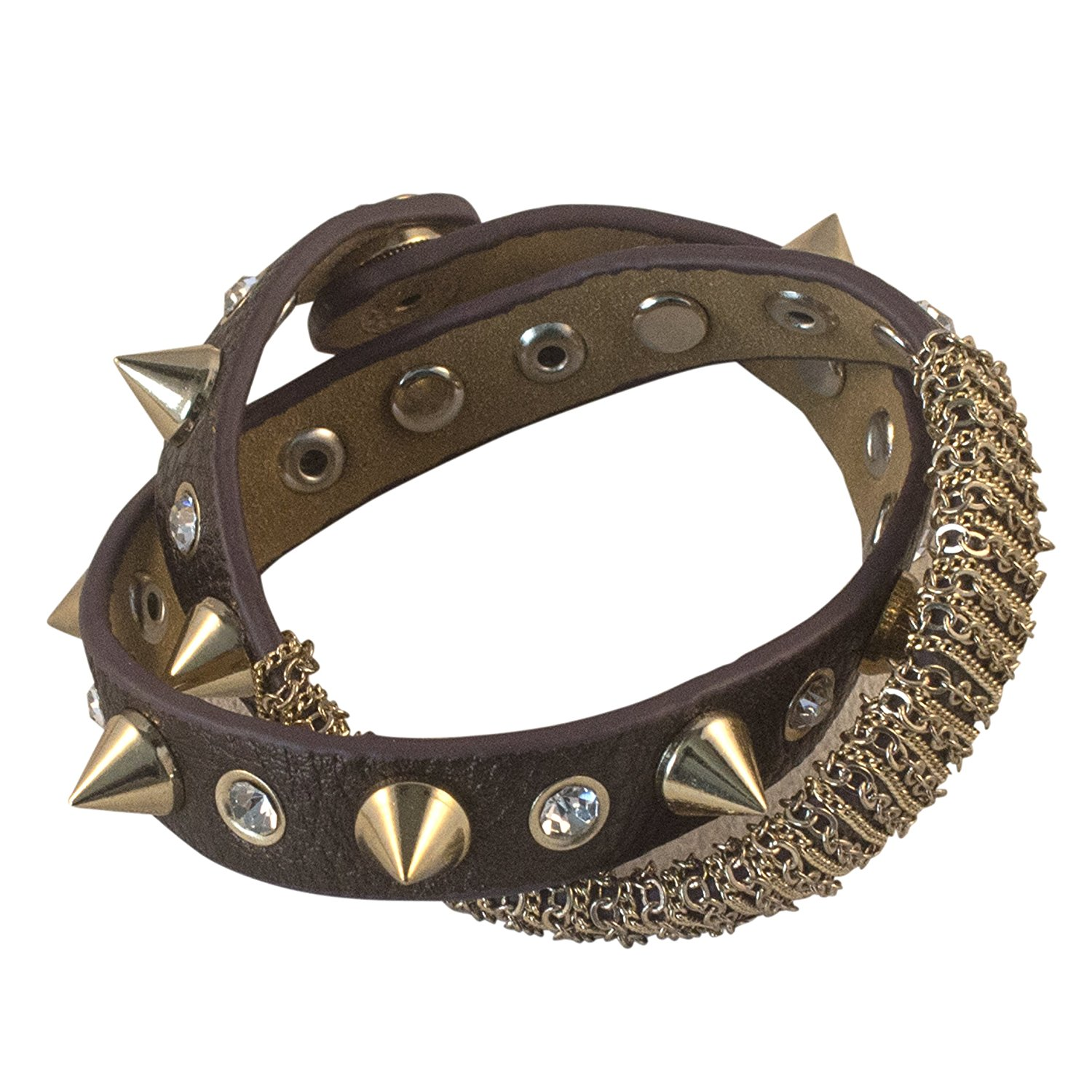 Funky Twisted Womens Leather Spike Bracelet Intricate Gold Tone Chain Detail