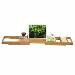 Manufacturer Hot Sell Natural Color Bamboo Bath Caddy For Bathroom with Wine Glass Holder