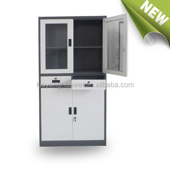 KD Structure Office Use Metal Storage Cupboard Upper Glass Door Two Middle  Drawers File Cabinet