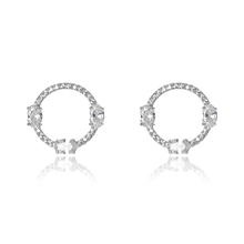 Rhodium Plated Simple Fashion Oval Clear White Stone Austria Crystal Open Round Circle Stud Earrings