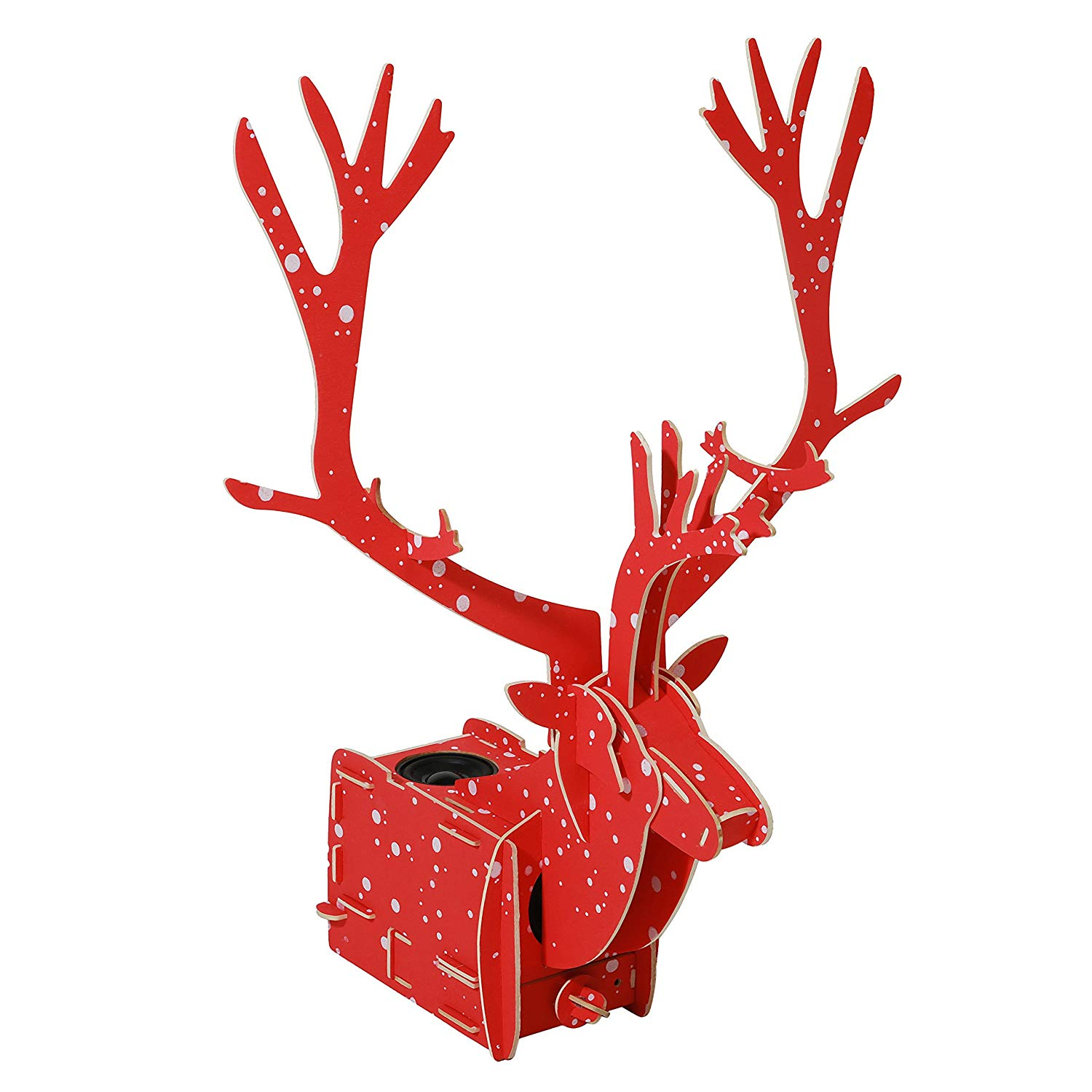 Reindeer 3D Wooden Stereo Puzzle Speaker DIY Kit- Creative Portable Wireless Bluetooth Speaker- Christmas Home Decor- Perfect Holiday Gifts, Red