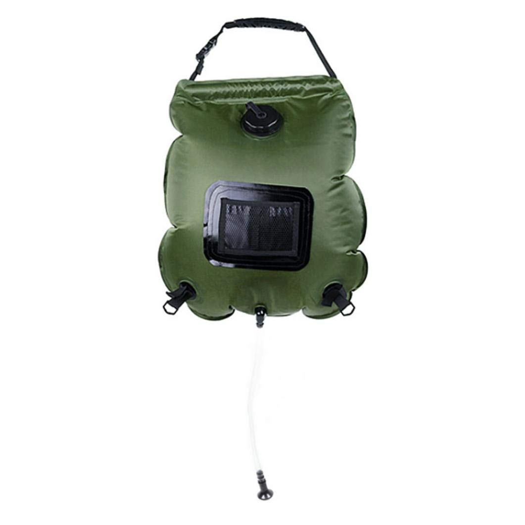 Solar Shower Bag 5 Gallons/20L Portable Solar Heated Shower Water Bathing Bag for Camping Hiking Traveling Summer Shower with Hose (Green)