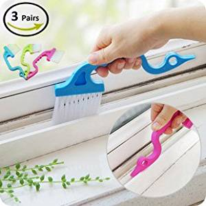 Foyojo 3-Pack Hand-held Groove Gap Cleaning Tools Door Window Track Kitchen Cleaning Brushes (Random Color-Blue, Green, Pink)
