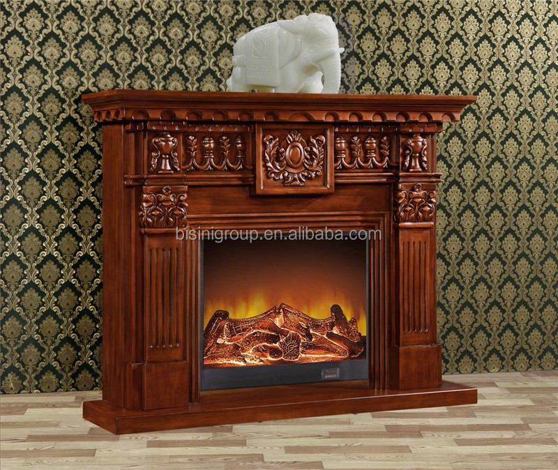 Antique Wooden Frame LED Flame Effect Electric Fireplace With Cast Iron Heater