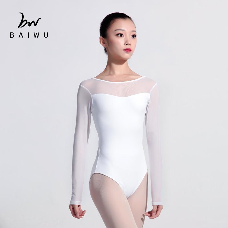 54c620879ac6 117141004 Mesh Long sleeve Ballet Leotards Gymnastic Leotard