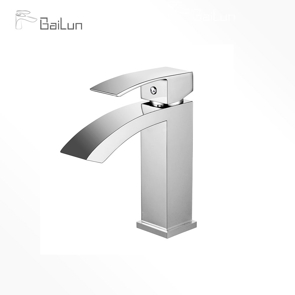 CE Contemporary Single Handle Square Brass Bathroom Waterfall Basin Mixer Tap