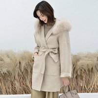 Fashion Double Side Woolen Jackets with Fox Fur Trim Hood Women Handmade Ladies Korean Cashmere Wool Coat