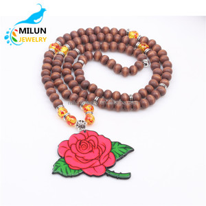 Wholesale wooden beads rose flower charm pendant yoga mala necklace women