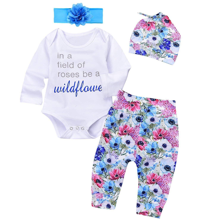 Get Quotations · Babibeauty Baby Girls 4Pcs Pants Set Letter Long Sleeve  Romper Floral Pants with Hat Headband 5e7d5c20e201