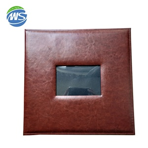 Brown PU Cover Screw Post Bound Photo Album With Detachable Inside Pages