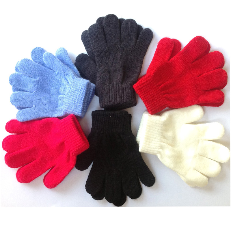 Winter Warm Children Gloves Solid Stretch 5-12T Kids ...